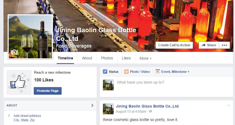 China glass bottle supplier baolin glass's facebook page