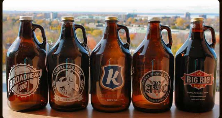 Amber glass Growler factory from china