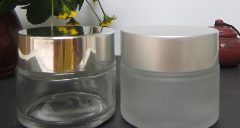 50ml frosted glass cosmetic jar with matte silver lid