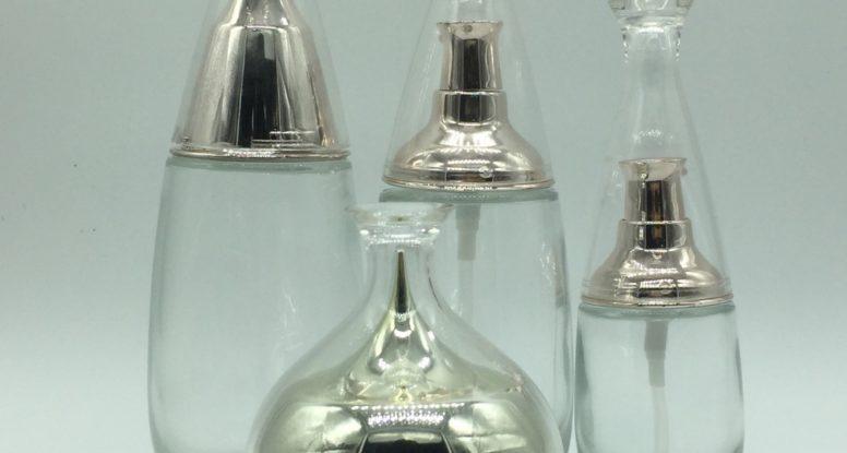 water drop shape empty glass cosmetic bottles set