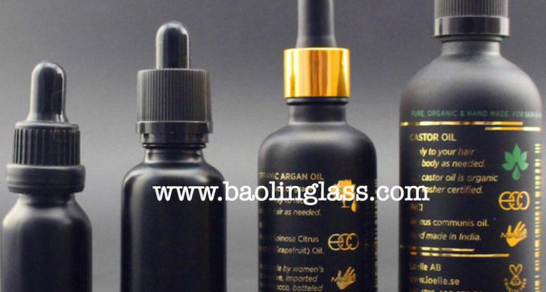 1oz 30ml black serum oil glass dropper bottle