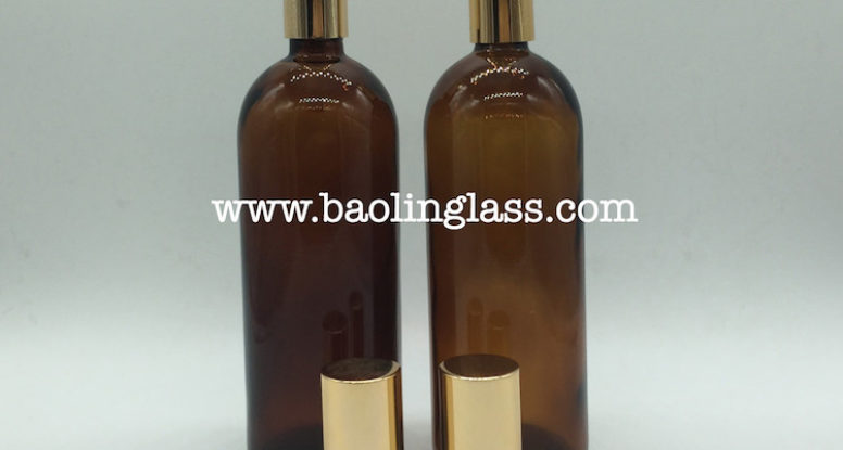 200ml amber essential oil glass bottle with pump sprayer cap