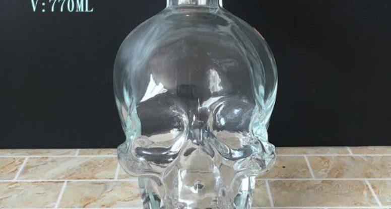 Wholesale 750ml Crystal Head Skull Wine Vodka Whiskey Glass Bottle