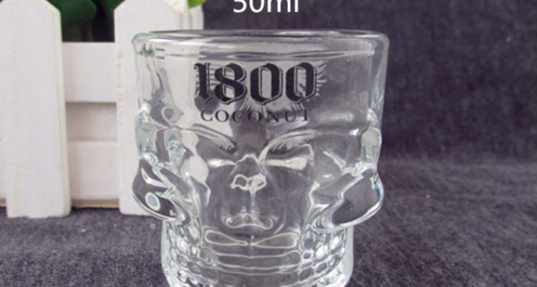 50ml skull head glass shot vodka glass cup