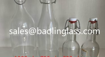 750ml clear glass bottle with swing lid